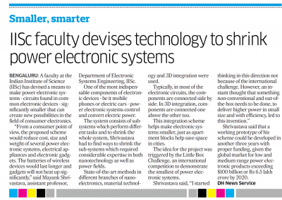 IISc Faculty Devises technology to Shrink Power Elec Sys - Deccan Herald