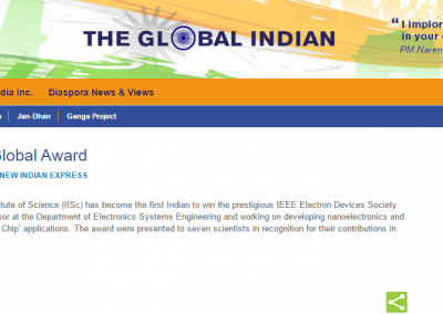 IISc Prof Wins a global award - Global Indian